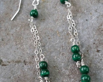 Silver and malachite dangle earrings