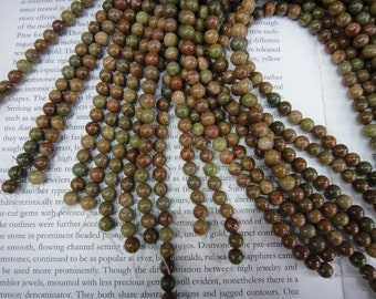"Natural Chinese unakite beads, 6mm, pale pink green beads, 16"" long."