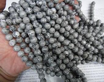 10mm grey picture jasper round beads, 15.5 inch