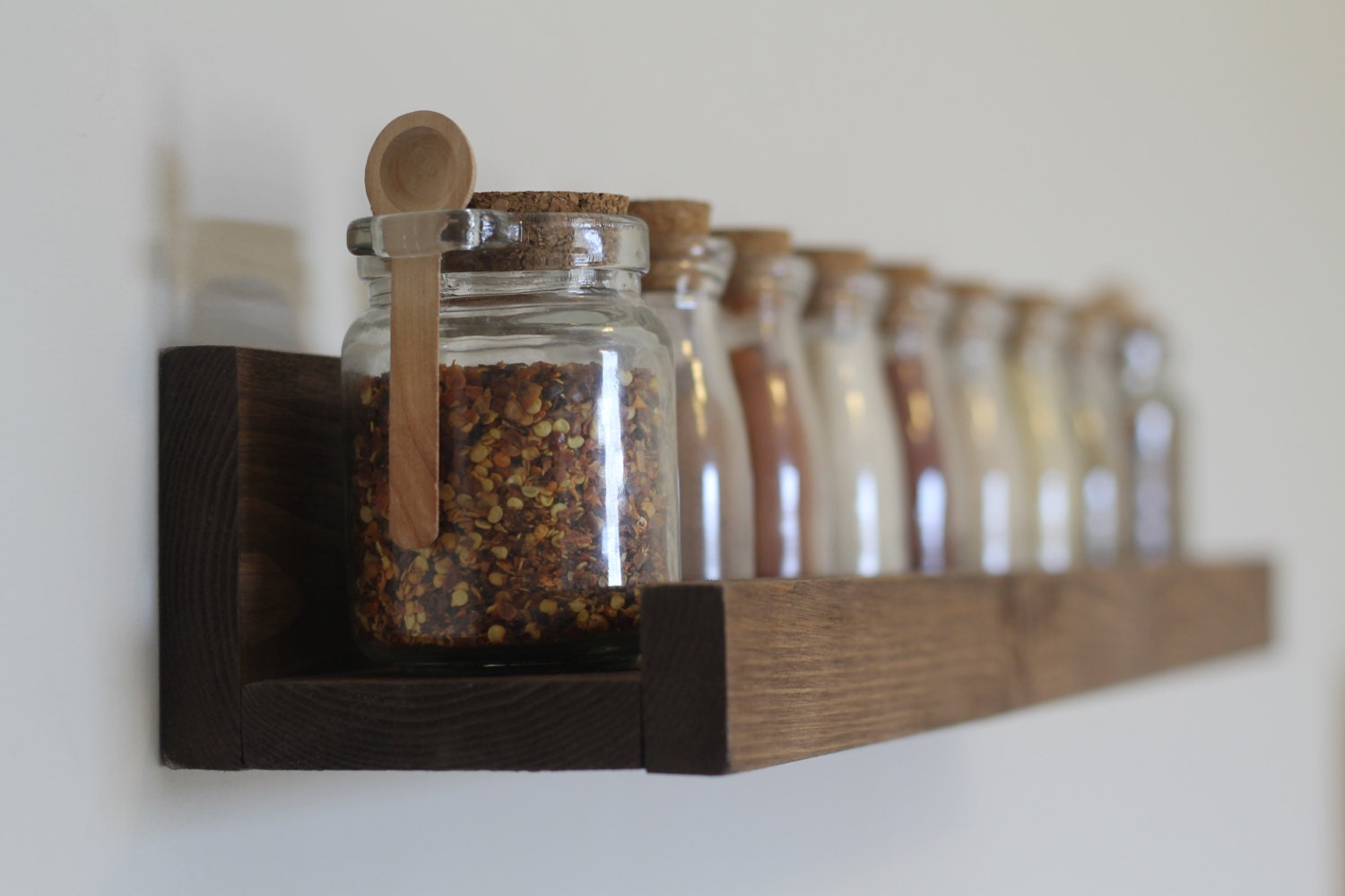 Rustic Wooden Spice Rack Ledge Shelf By DunnRusticDesigns