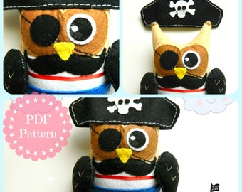 PDF Pattern: Pirate Owl. Felt Pattern. Plush Pattern. Softies Pattern - Instant Download