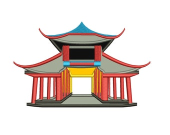 Chinese Palace Applique Machine Embroidery Digitized Design Pattern - Instant Download- 4x4 , 5x7, 6x10