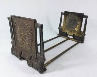 REDUCED Antique vintage Judd? adjustable sliding brass cast iron native american indian bookends art deco nouveau