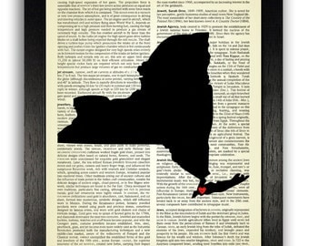 New York State with Love Heart on Brooklyn, State Map Dictionary Print, New York Map Poster Artwork, New York Love Heart Art Wall Decor
