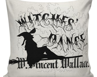 Halloween Cushion Pillow Cover Witch cotton canvas throw pillow 18 inch square #UE0212 Halloween Urban Elliott