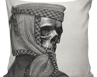 Steampunk Pillow Cover Cotton Canvas Throw Pillow 18 inch square Skull in Headdress #UE0036 Urban Elliott