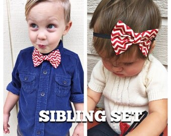 Red chevron bow Sibling set