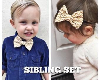 Metallic gold chevron bow Sibling set
