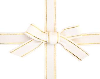 White & Gold Stripe Ribbon