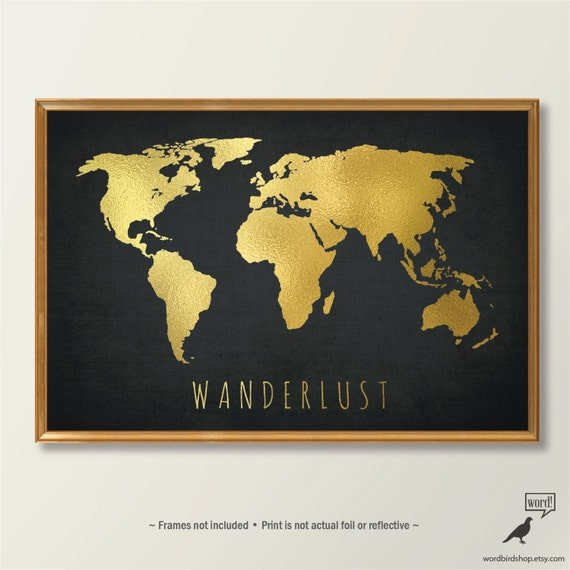 Chic Gold World Map World Map Print Black And Gold Home Decor Gold