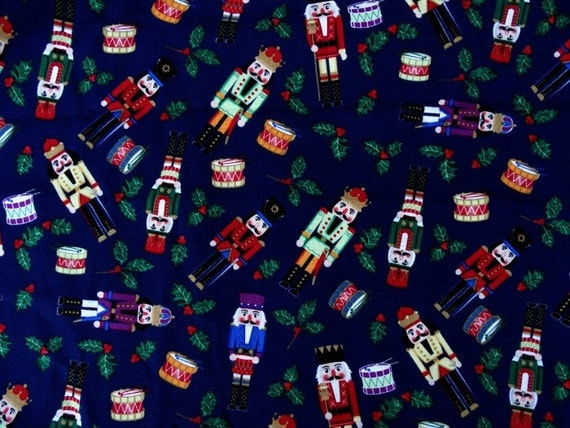 Nutcracker Christmas Fabric Cotton Quilting Supply 1 Yard Blue