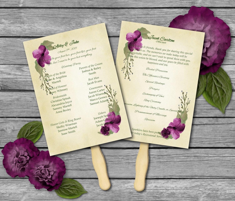 Wedding Program Fan Template Concord Watercolor Word