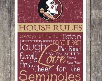 FLORIDA STATE SEMINOLES House Rules Art Print