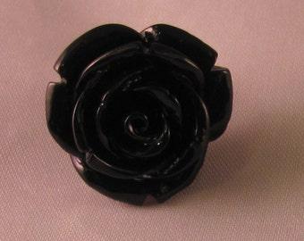 Rose Lapel Pin - Black - Men's Accessories- Everyday/Weddings/Proms