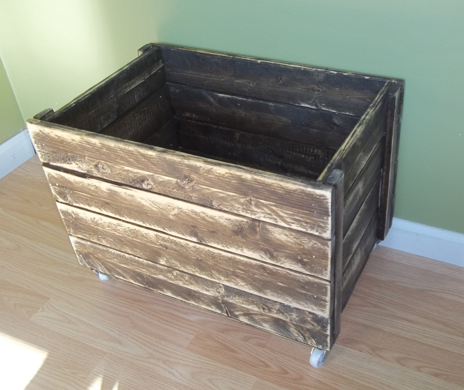 rustic toy box rustic crate crate on wheels by prettyandrustic. Black Bedroom Furniture Sets. Home Design Ideas