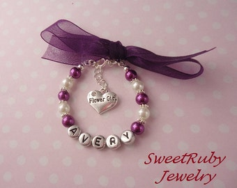 Personalized Flower Girl Bracelet w/ Organza Ribbon - Bridesmaid/Maid Of Honor - Wedding Accessories - With An Elegant Gift Box