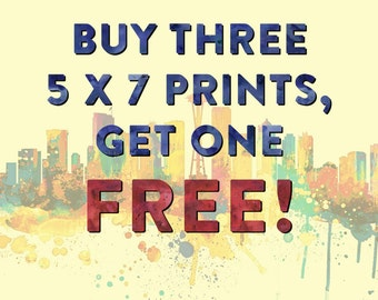 Special - Buy 3 Get 1 FREE 5 x7 prints - Choose Your Favorites - Home/Office/Kid's Decor
