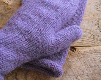 Wool mittens hand knit from periwinkle purple wool, women's cute mittens - trendy mittens -  unique - ladies fashionable mittens