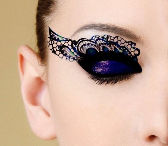 Eye temporary tattoo peacock lace tattoo transfer eye tattoo for Halloween makeup tattoos