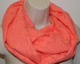 Coral infinity scarf, coral scarf, women scarf, infinity loop, spring/summer/fall infinity scarf, lightweight scarf,