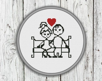 Cute Boy And Girl In Love Counted Cross Stitch Pattern, Valentine's Day, Heart - PDF, Instant Download