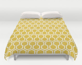 Honeycomb Duvet Cover - Mustard Yellow - Queen Size Duvet Cover - King Size Duvet Cover