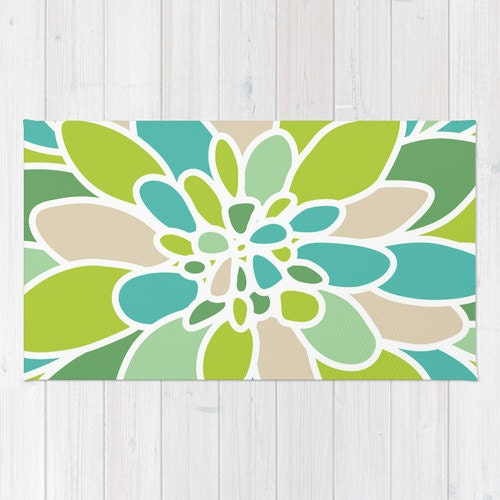 Modern Flower Area Rug Abstract Green Flower Rug Green