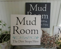 Mud Room sign,12X12, Laundry room, entryway decor,stenciled signs, handmade signs, canvas signs, mudroom signs, turquoise decor, white decor
