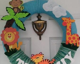 Jungle Wreath, Nursery decor, playroom decorations, name wreath, jungle decorations