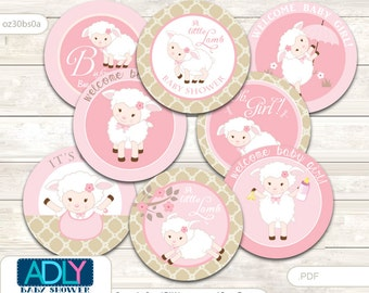 Little Girl Lamb Cupcake Toppers for Baby Shower Printable DIY, favor tags, circles, It's a Girl, soft pink brown -  oz30bs0a