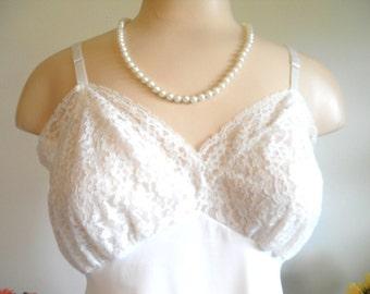 Vintage 1960's Pin Up Girl Slip ~  Van Raalte ~ Suavette Full Slip ~ Lavish Lace Silky White Nylon  ~ VLV ~ Bombshell~ Size36