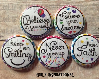 """Lot of 10 1"""" Flatback  Buttons GIRLY INSPIRATIONAL buttons"""