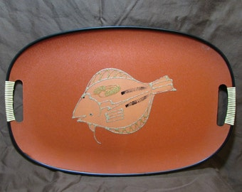 Serving Tray, Oblong, Coral Color With Fish, Vinatge 1960's
