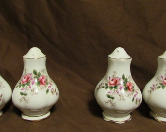 Salt and Pepper Shakers, Two Sets, Porcelian With roses, 1980's