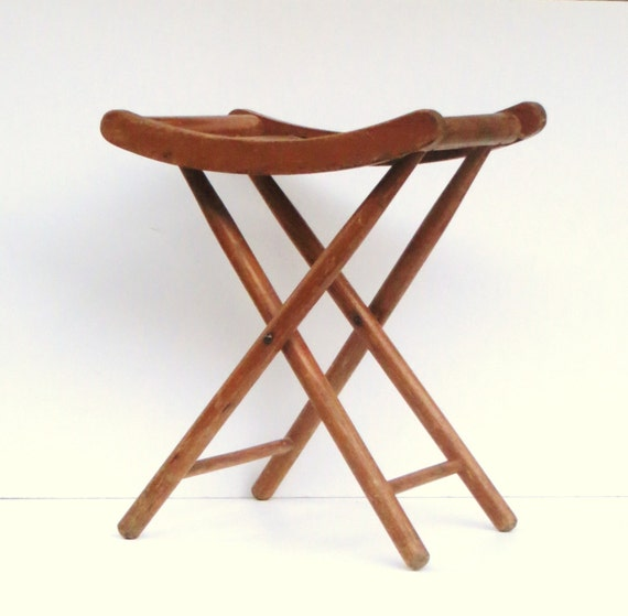 Mid Century Wooden Folding Camp Stool Wooden Stand Portable