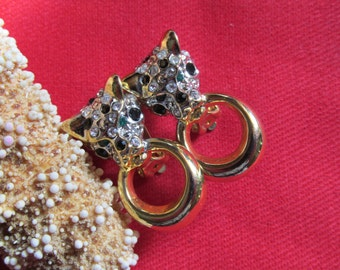 Rhinestone Cat Tiger Earrings Clip On Gold Tone