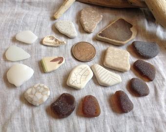 Beach glass Sea glass.  Pottery/Earthenware. Jewelry supplies.