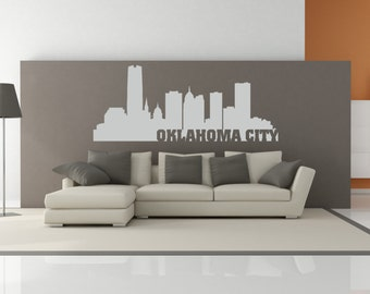 Oklahoma City Oklahoma City Skyline Interior Wall Decal WITH Lettering