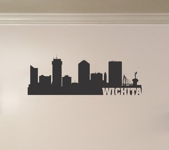 Wichita kansas city skyline interior wall decal by for Tattoo shops wichita ks