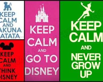 Keep Calm and Disney Iron On Transfers.... The possibilities are endless- Choose your own phrase and silhouette image!