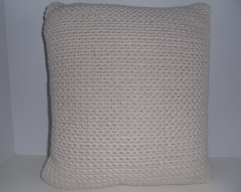 15 x 17 inch 100% cotton ecru crochet pillow