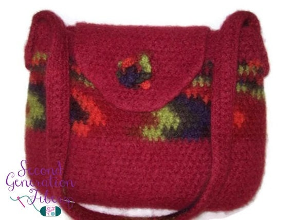 Crochet Wool Bag : Red crochet purse, wool felted purse, red wool purse, felted purse,red ...