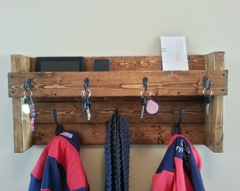 Entryway Coat Rack  Organizer - Rustic Hangining Mail, Phone and Key Organizer -Wall  Coat Rack - Key Hooks - Key Rack