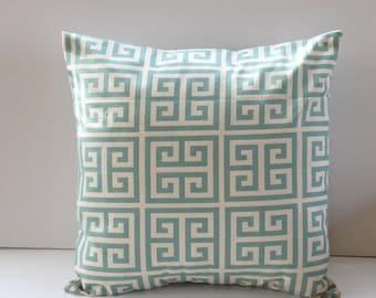Light Blue and White Modern Pillow Cover- Light Blue and White Decorative Couch Pillow 18x18- Ready to Ship