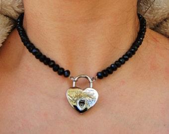 Single Row Black Crystal AB Locking BDSM (Day) Collar