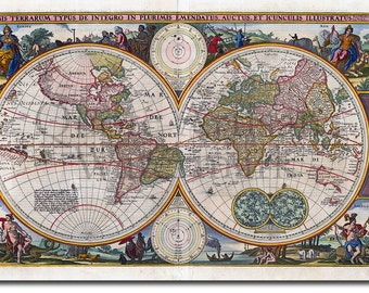 World Map from 1657 Reproduction -  12x8 Inch Photo Poster Print Gift