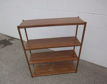 Faux Wood Grain & Metal 50's Bookshelf/Vintage/MidCentury