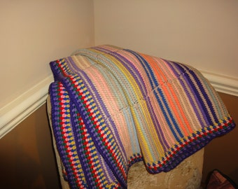 Handmade Lap Throw/Vintage Bed Throw/Bedding/Linen/Sewing/Textile
