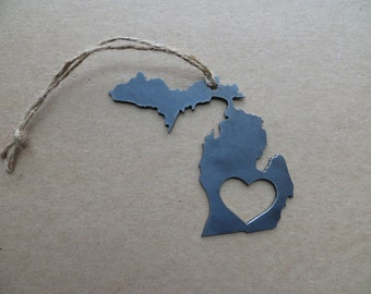 FREE SHIPPING: Love Michigan Rustic Steel Heart Ornament