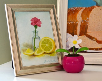 Pink carnation and a lemon painting 5x7 fine art print of original painting by Amelia Nowak